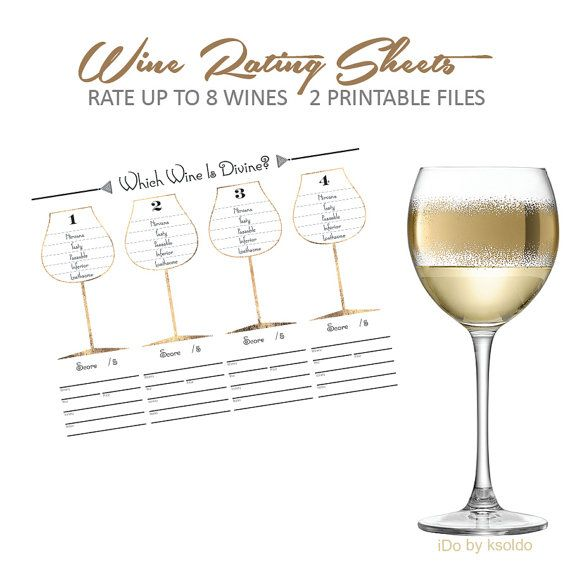Black & Metallic Gold Wine Rating Sheets - 2 Printable Digital Files