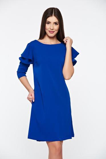 Rochie LaDonna albastra cu croi larg cu volanase la maneca - http://hainesic.ro/rochii/rochie-ladonna-albastra-cu-croi-larg-cu-volanase-la-maneca-6a0786c03-starshinersro/