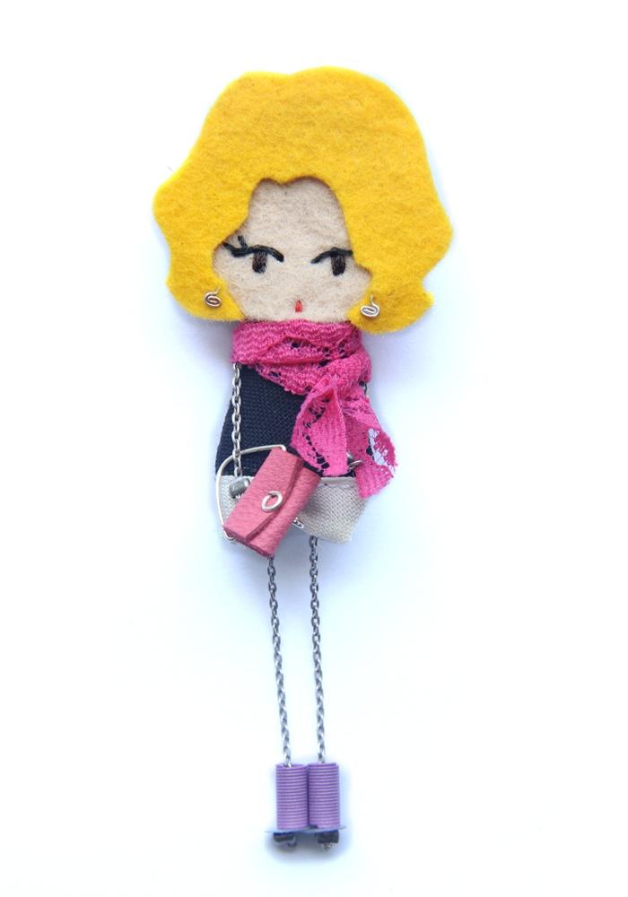 Marisa. # felt dolls # brooche doll # custom doll # minimis