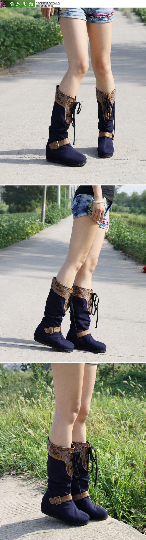 Hiver Bottes Femmes Vintage Broderie Ug Bottes US Taille 9 Bottes D'équitation Glissement Bleu Fleurs Botas femininas Boot Femelle dans Femmes de Bottes de Chaussures sur AliExpress.com | Alibaba Group