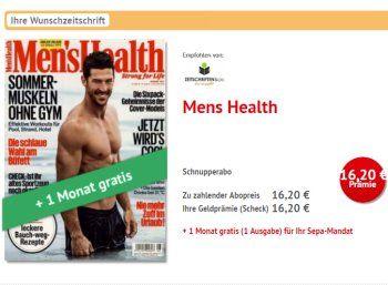 """Men's Health: Drei Ausgaben für 16,20 Euro mit Scheck über 16,20 Euro https://www.discountfan.de/artikel/lesen_und_probe-abos/mens-health-drei-ausgaben-fuer-1620-euro-mit-scheck-ueber-1620-euro.php Discountfans können sich ab sofort drei Ausgaben der """"Men's Health"""" für 16,20 Euro frei Haus sichern, den Abopreis erhält man über einen Scheck in Höhe von 16,20 Euro wieder zurück. Men's Health: Drei Ausgaben für 16,20 Euro mit Scheck über 16,20"""