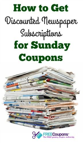 Discounted Newspaper Subscriptions for Sunday Coupons! | FreeCoupons.com