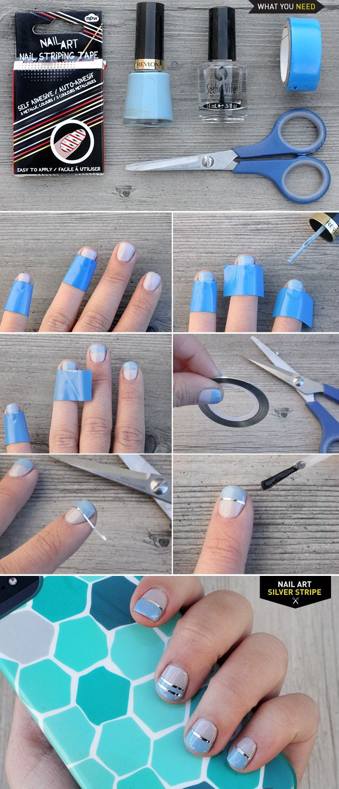 Pattern nail art designs fancy nail art for prom simple nail art lines - Diy Nail Art Silver Stripe I Spy Diy