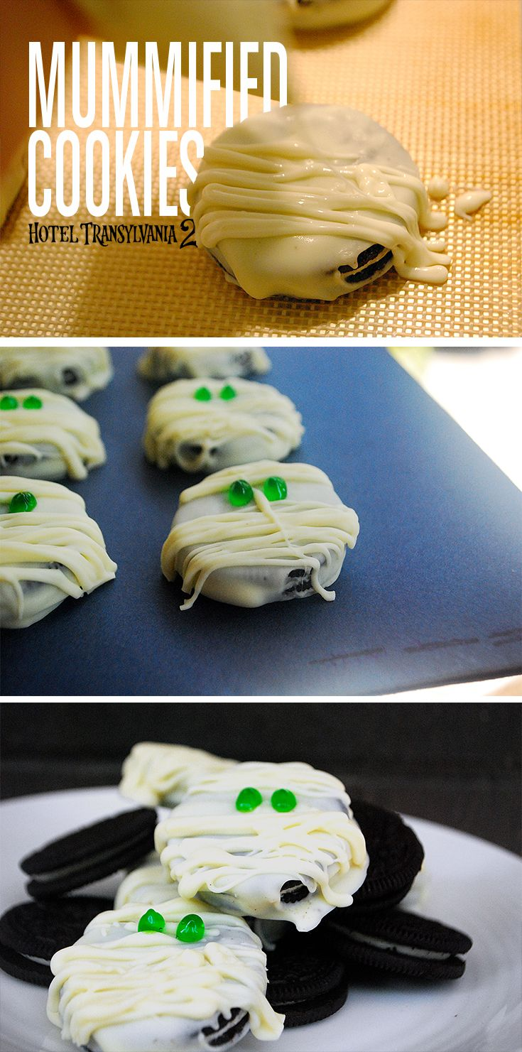 These mummified cookies take all of five minutes to assemble - store this pin away for Halloween! Hotel Transylvania in theaters Sept 25 #HotelT2