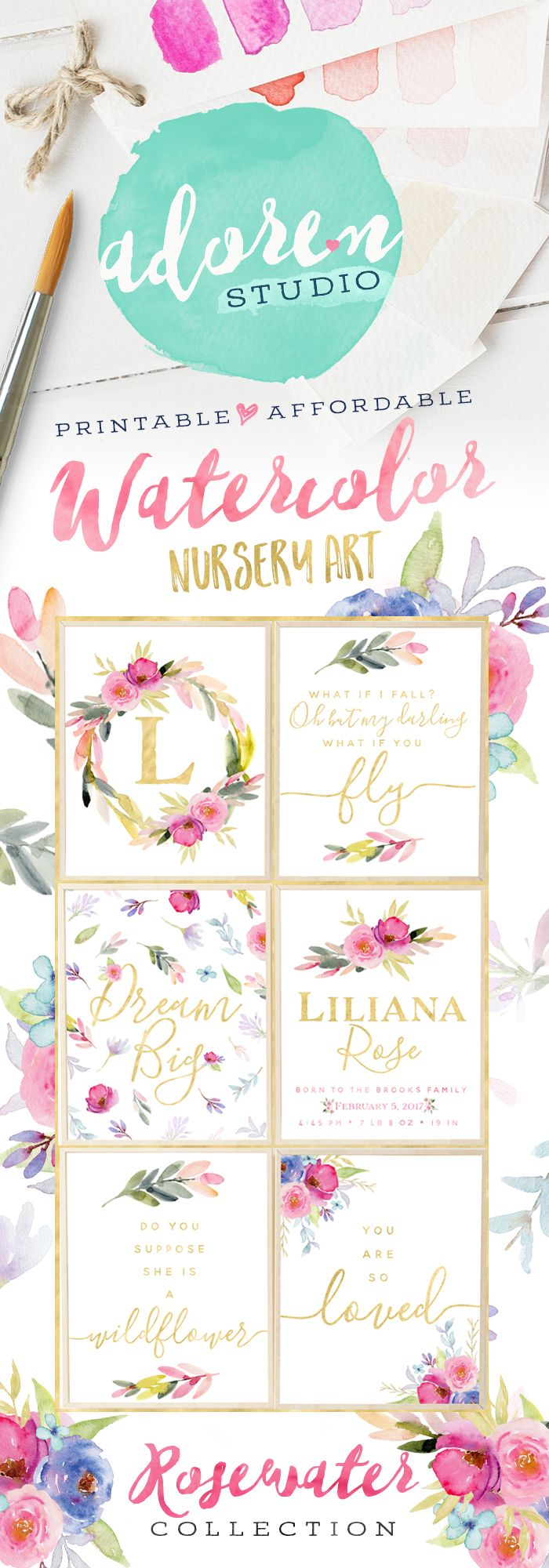 Beautiful watercolor nursery printables and prints from Adoren Studio! Watercolor and Florals are major trends in nursery decor - create the look for less through affordable nursery printables!