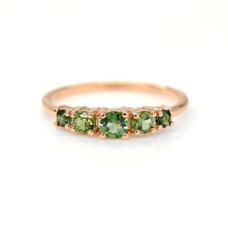 Multi Color Green Tourmaline Ring
