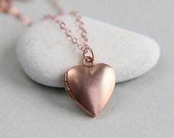 Rosa collar medallón de oro collar de oro rosa por BeautifulAsYou