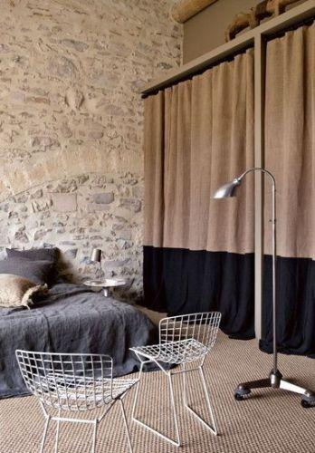 bicolores, couleurs, décoration, maison, rideau