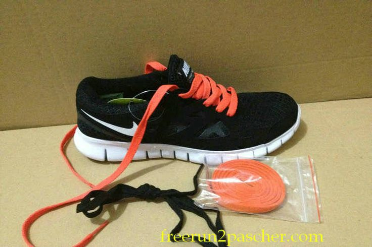 buy cheap  Femmes Nike Free Run 2 Noir blanc Total Orange Lace,top quality shoes onsale just: $46.99