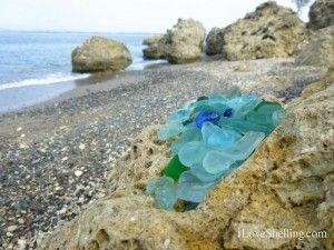 cobalt blue SEA GLASS at a beach appropriately named Glass Beach. Guantanamo Bay, Cuba