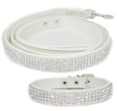 Amazon.com: White 2 Pack Crystal Rhinestone Dog Leash and Dog Collar (Small): Pet Supplies