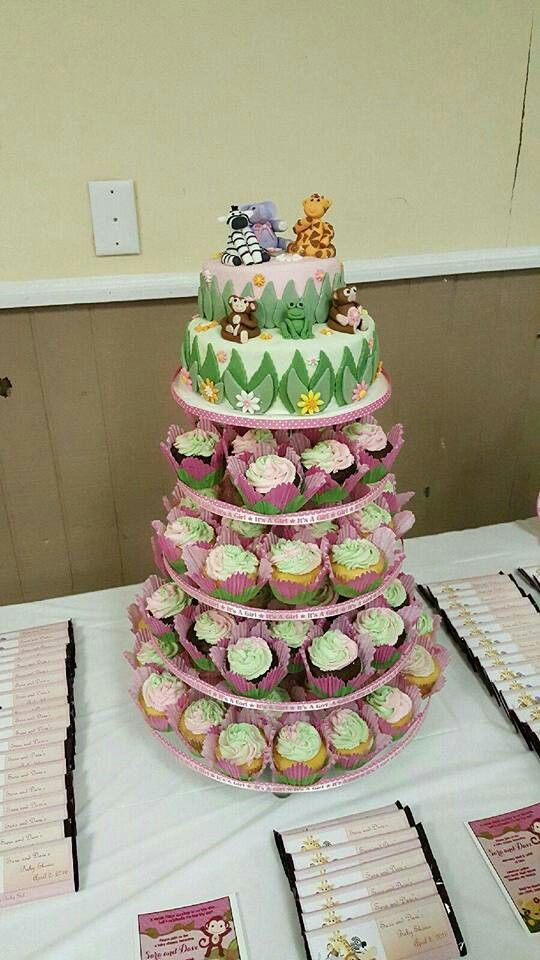 Zoo Animal Cake Tower with Candy Bar Favors byJamie