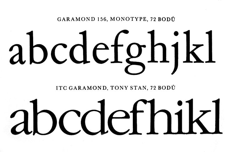 Two versions of the Garamond typeface for phototypesetting from Monotype and ITC  (designer Tony Stan, 1977). Roman typeface. Oldřrich Hlavsa, Karel Wick. Typographia 2: Fotosazba. 1981.
