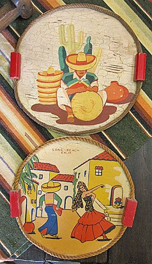 vintage trays with Mexican theme