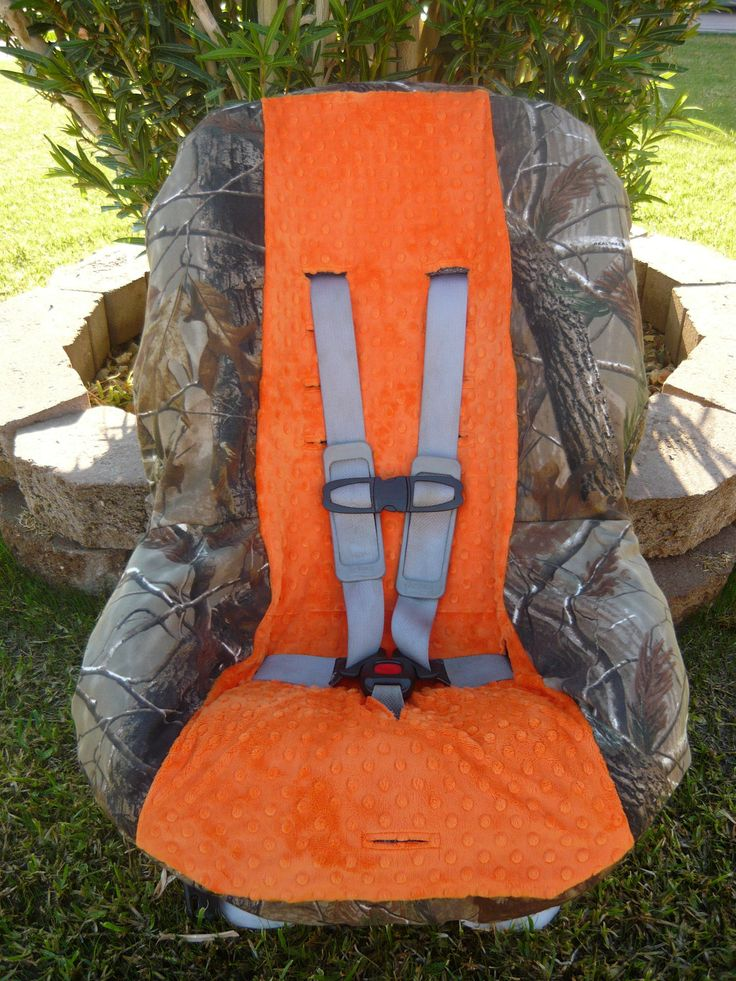 Real Tree Camo with Orange Toddler Car Seat Cover. $40.00, via Etsy.