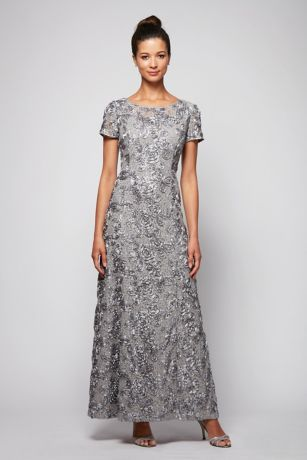 1f9b29e349 Completely covered in dimensional rosettes from the cap sleeves to the  floor-sweeping skirt, this lace occasion gown is in bloom. By Alex Evenings  Nylon, ...
