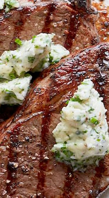 Grilled Rib Eye Steak with Parrano Herb Compound Butter