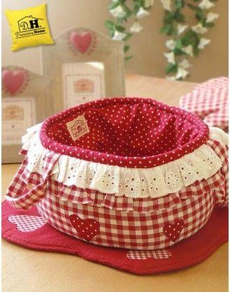 Cestino di stoffa imbottito rotondo Angelica Home & Country Vichy Rosso