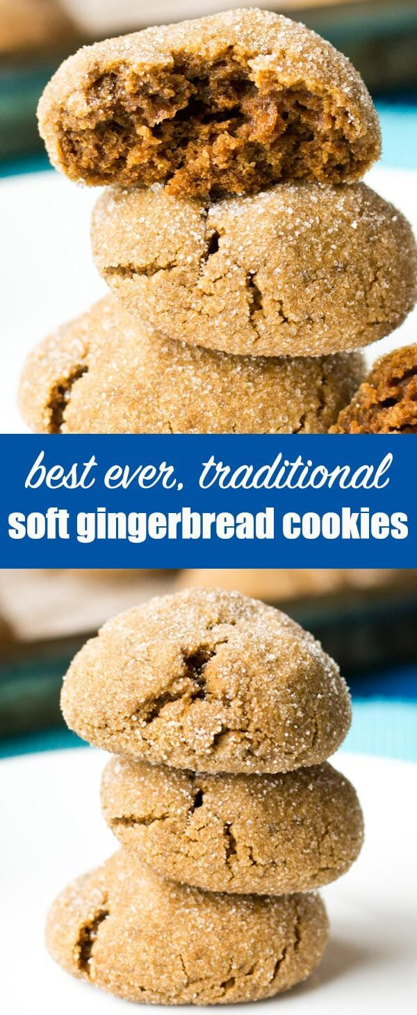 Soft Gingerbread Cookies have the taste of gingerbread cookies, but are soft and thick. Roll the dough balls in sugar for the perfect sweetness! #christmas #gingerbread #molasses #cookies via @tastesoflizzyt