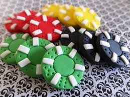 12 Fondant poker chips - Poker party/Las Vegas/Casino/gambling themed party…