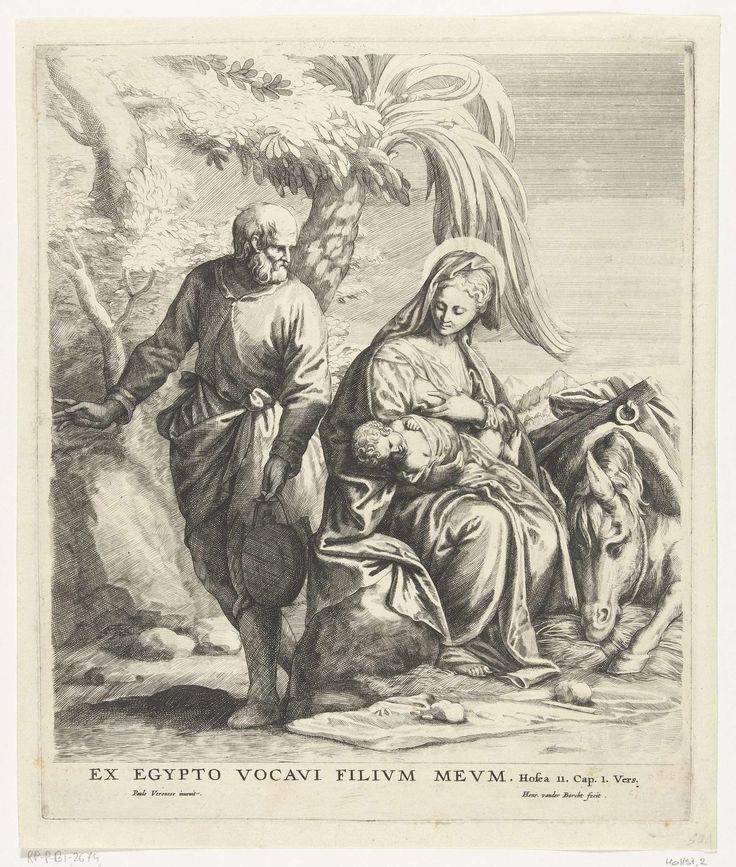 Hendrik van der Borcht (de Jonge) | Rust tijdens de vlucht naar Egypte, Hendrik van der Borcht (de Jonge), 1594 - 1660 | Maria rust uit op een steen en geeft het Christuskind de borst. Een palmboom achter haar buigt zich naar haar toe om haar schaduw te schenken. Links van haar gaat Jozef water halen. De prent heeft een Latijns onderschrift waarin de Vlucht naar Egypte (Matteüs 2:14) wordt beschreven.