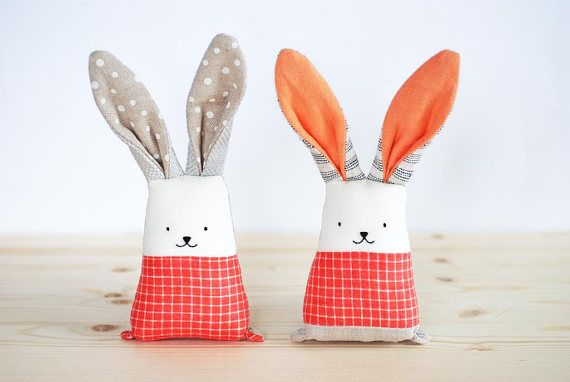 Soft toys set for twin sisters coral bunny rabbit toys