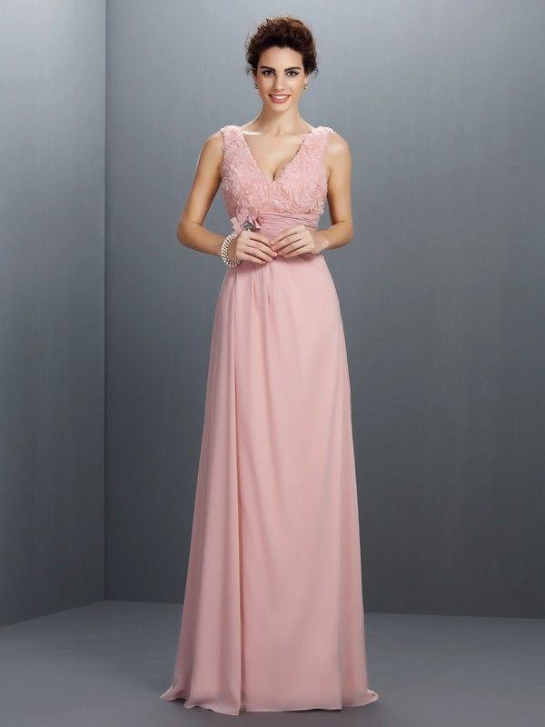 657e40f249cba8 Stylish A-Line Princess Beading Sleeveless V-neck Long Chiffon Dresses  Formele Jurken