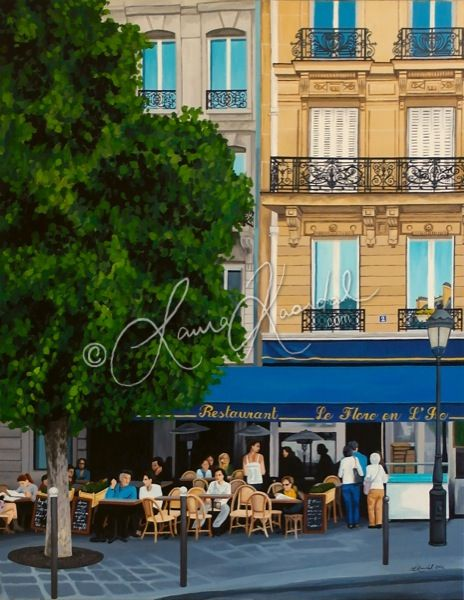 Le flore en l'ile, Paris by Laura Kaardal, Acrylic on Canvas www.laurakaardal.com #Blue #french #Parisian #cafe #lamppost #balconies #wroughtiron #tree #urban #citylife #architecture #art
