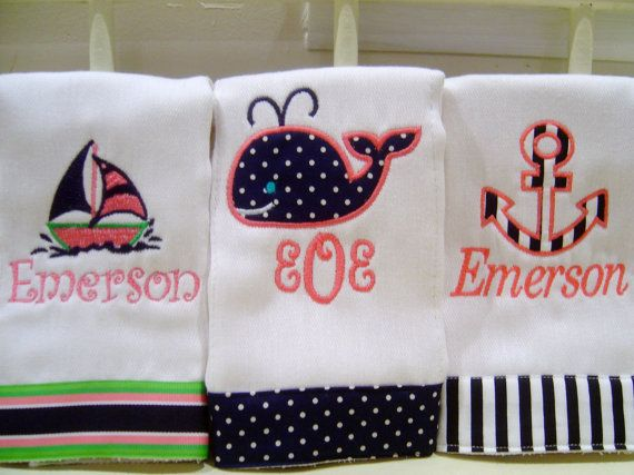 Baby Girl Personalized Burp Cloth Set with an Anchor, Sailboat & Whale