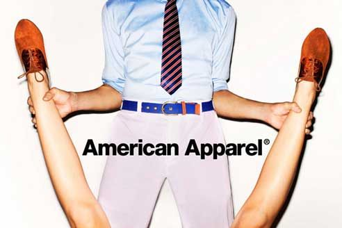 This ad implies that males that dress in American Apparel can get any girl.