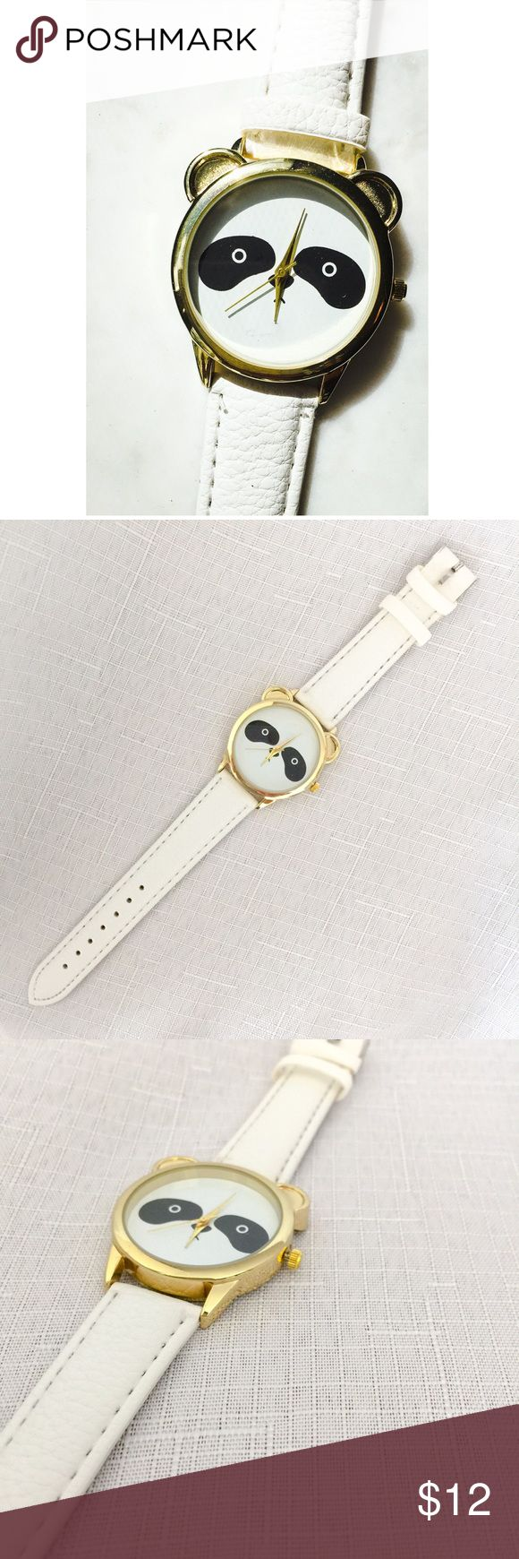 New Cute Panda Watch!! 🐼 New Cute Panda Watch!! 🐼 Fun and adorable, let this little panda tell you the time. White strap with gold colored accents, sure to get lots of compliments; makes a great little gift as well! Accessories Watches