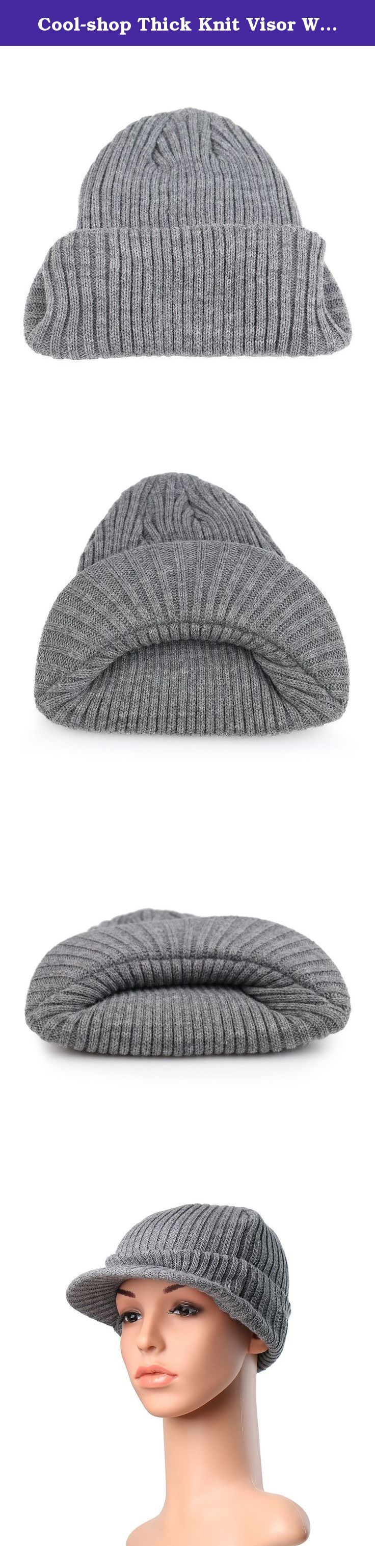 Cool-shop Thick Knit Visor Warm Hat Cuff Beanie for Male and Female(Gray). Product Description This characteristic beanie has a distinctive pattern that will make you look and feel pretty well. It has a pre-curved soft visor. This soft beanie hat is great for the winter or everyday wear. The strong construction makes it warm, comfortable and durable.