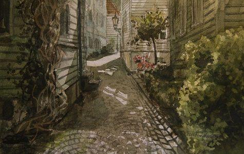 Kunstneren i Bergen: Akvarell fra Stølen iBergen