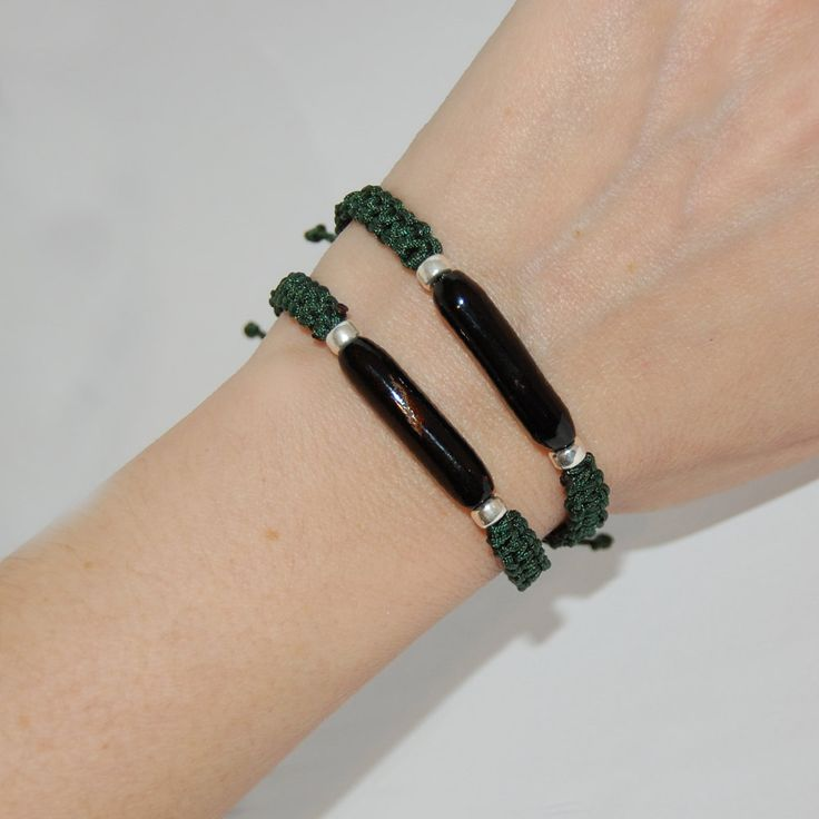 Macrame handmade bracelets, Black coral macrame, Unisex bracelet, Mix and Match bracelets, Dark green thread, Gift for him, Gift for her. by kreitto on Etsy