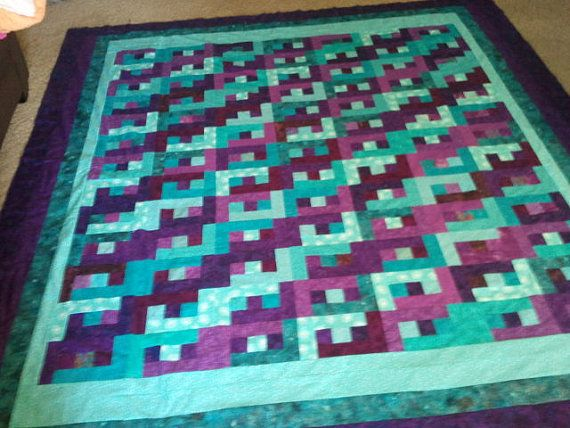 Purple Quilt Teal Quilt Hand Dyed Made To by QuiltsByTaylorDesign