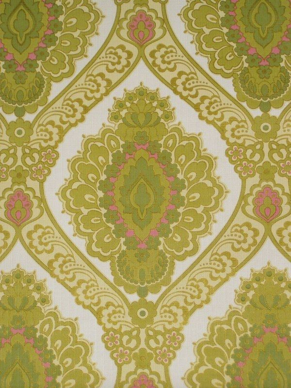 Original retro vintage green baroque wallpaper from the '60s. This elegant wallpaper will lend interest to a room and immediately grab the intention.