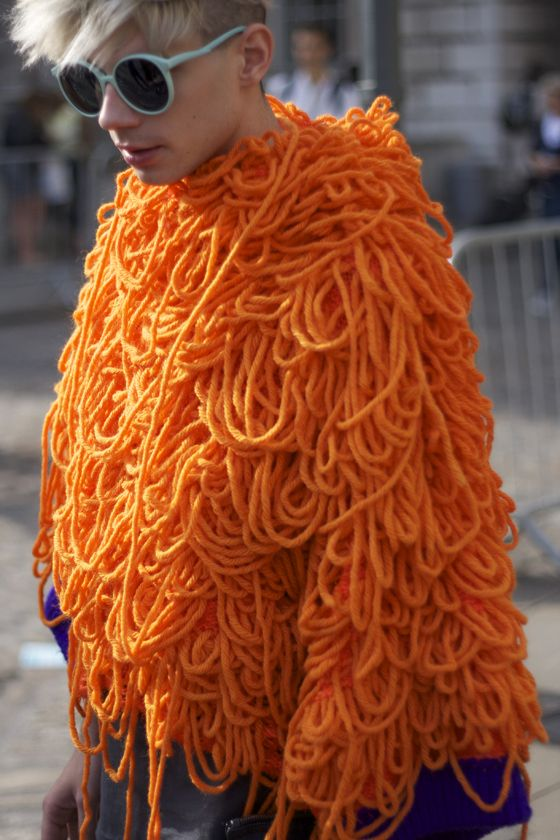 Why bother knitting when you can just wear the unravelled skein of yarn? So much easier...