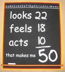 50th Birthday Party Ideas Funny -Being a   teacher....this would be funny...except I wish I looked 22...the numbers would   have to be changed for that...lol
