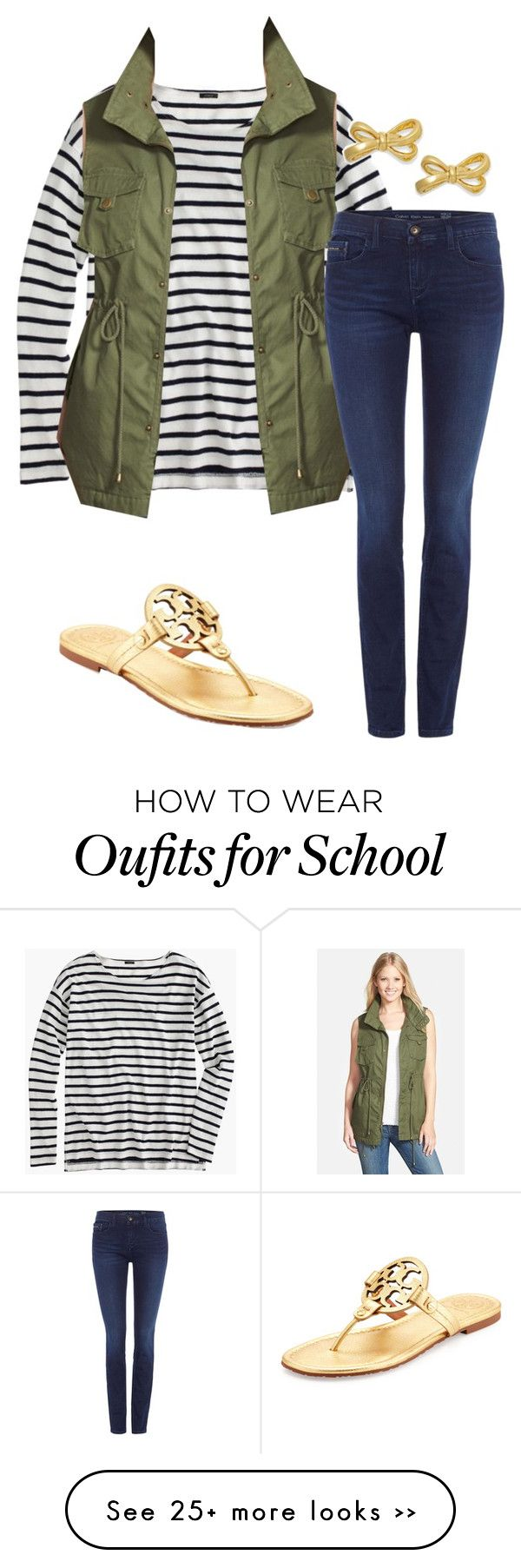 """""""fall back to school ; love this vest"""" by shannonflah on Polyvore featuring J.Crew, Pleione, Calvin Klein, Tory Burch and Kate Spade"""
