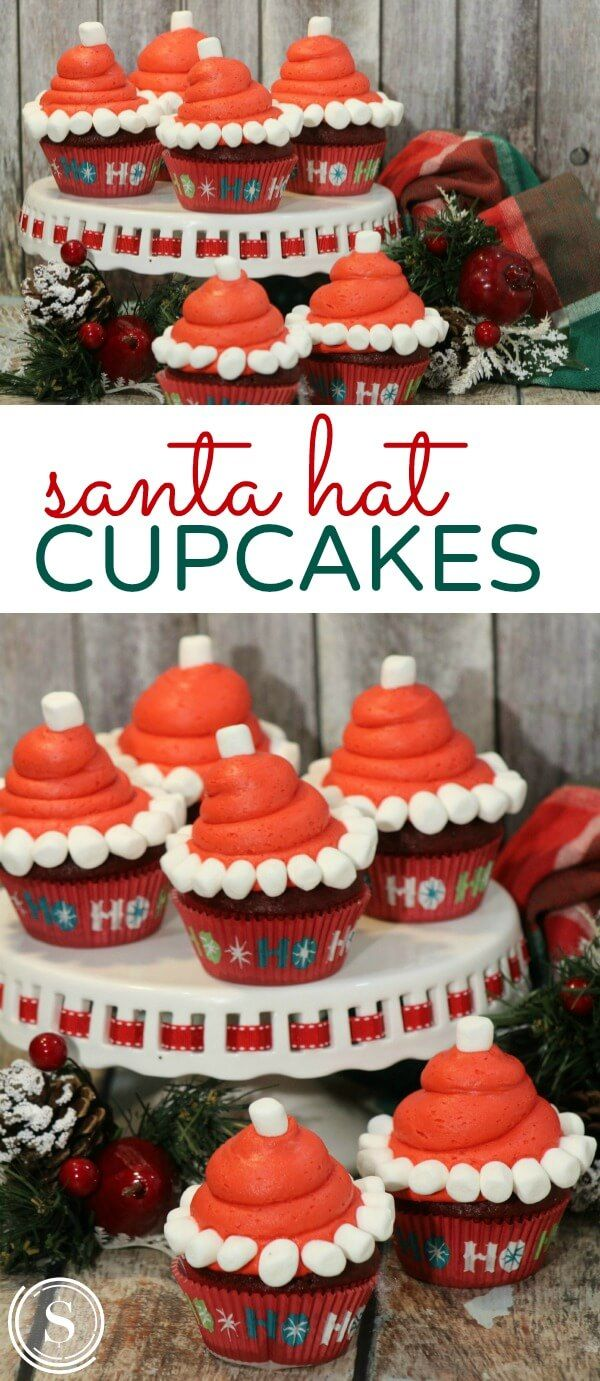 Santa Hat Cupcakes Recipe for Holiday Baking with Kids! Christmas Desserts for Christmas Eve or a Santa filled Movie Day!