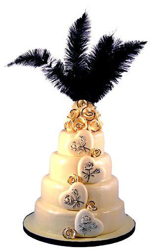 Charlston themed black and white chocolate wedding cake