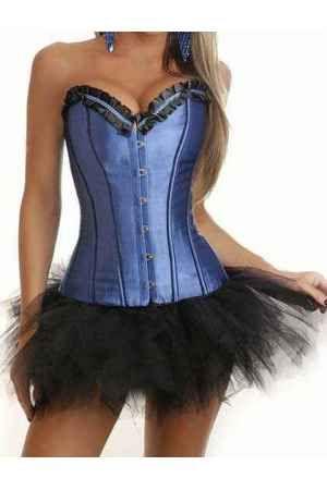 Corsets online azul con tutu corset de vestir liso - Corsets online lenceria vestidos