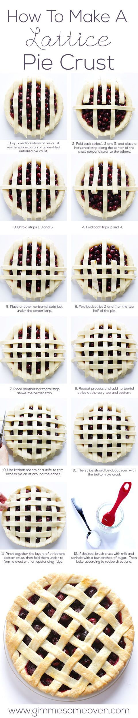 Never mess up another lattice pie crust again.     See more at Gimme Some Oven.