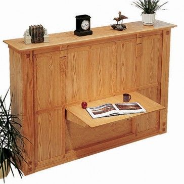 Rockler's Murphy Bed Plan with a drop-leaf desk/table space.