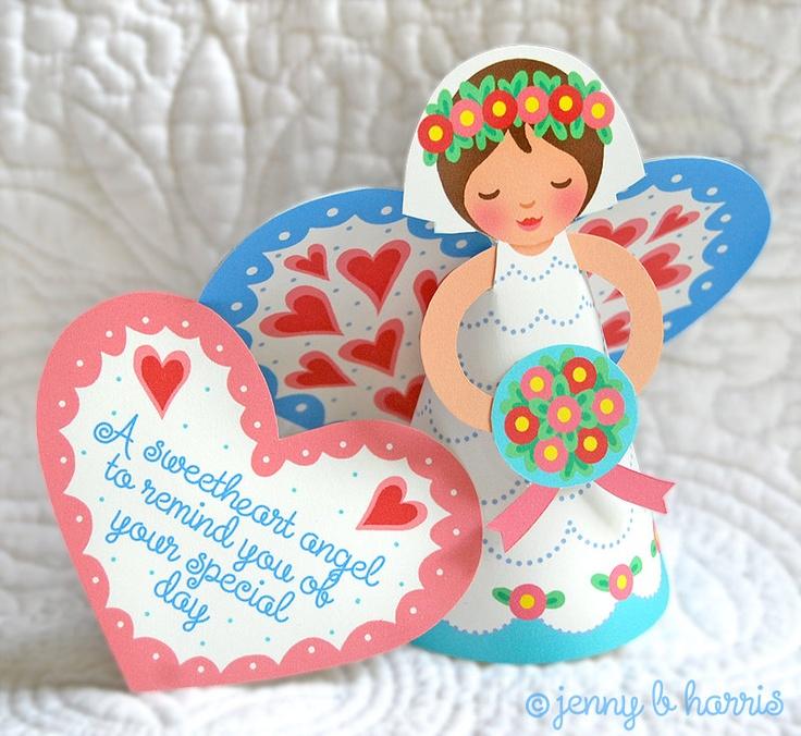 Sweetheart bride angel printable pdf w name & date. $16.00, via Etsy.