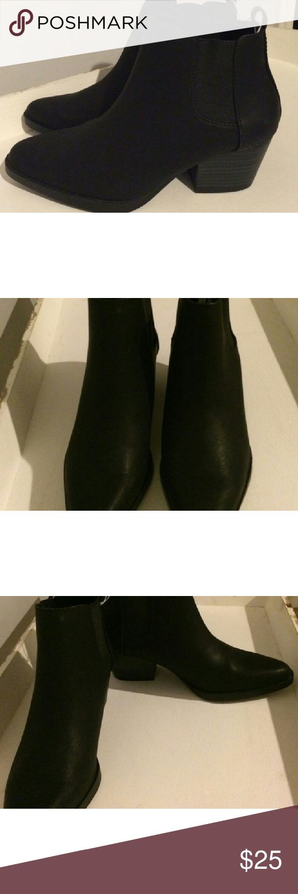 Black Faux Leather Short Ankle Boot Short ankle boot in faux leather upper in Black Jack. Synthetic rubber sole. Grosgrain tabs at sides for a flexible fit. Cushioned foot bed. Textured soles for traction. Old Navy Shoes Ankle Boots & Booties
