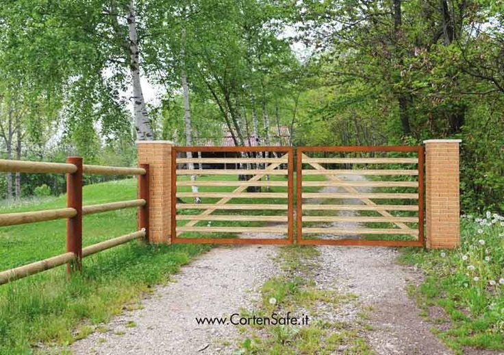 #Cancello in #corten con pali orizzontali. Modello Altea.