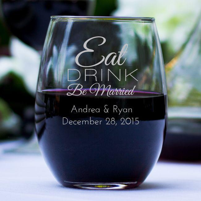 Engraved 9oz Stemless Wine Glass wedding favors