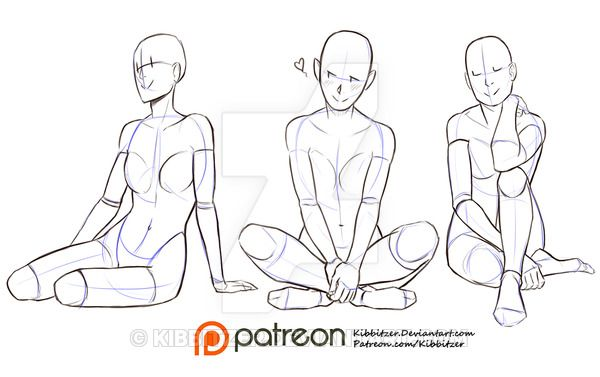 Sitting on the ground reference sheet by Kibbitzer.deviantart.com on @DeviantArt