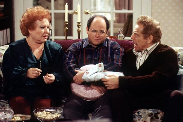 Estelle Costanza (Estelle Harris), George Costanza (Jason Alexander) and Frank Costanza (Jerry Stiller), Festivus episode of Seinfeld